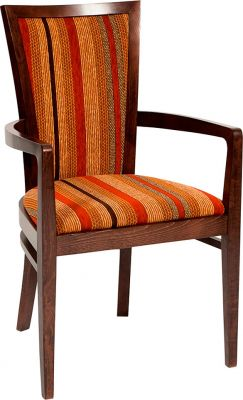 Designer Wood Dining Chair With Upholstered Seat And Back