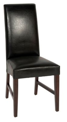 Black-upholstered-dining-chair-faux-leather-with-dark-wood-frame