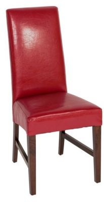 Bright Red Faux Leather Dining Chair With High
