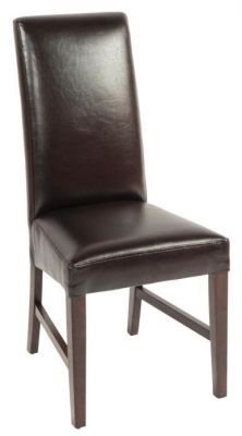 Brown-colour-faux-leather-dining-chair-with-extra-high-back-and-dark-wood-frame