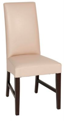 Contrasting-cream-faux-leather-seat-and-solid-dark-wood-finish-frame