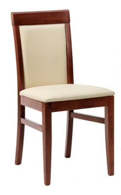 Wood-frame-dining-chair-and-cushion-upholstered-seat-and-back
