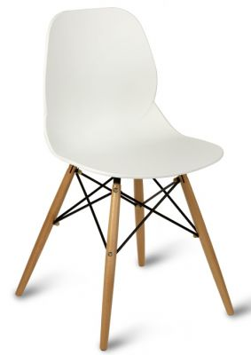 White Seat Designer Poly Chair With Beech Legs