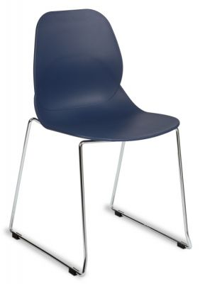 Chrome Skid Base Navy Blue Seat Chair