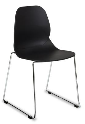 Plum Colour Poly Chair With Stylish Skid Chrome Base