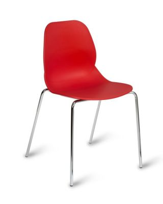 Bright Red Plastic Chair With Bucket Seating And Chrome Frame