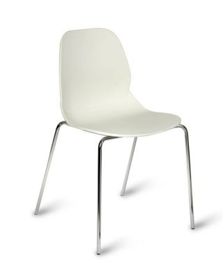 White Colour Polypropelene Seating With Sturdy Chrome Frame