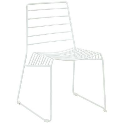 White Steel Wire Frame Outdoor Chair