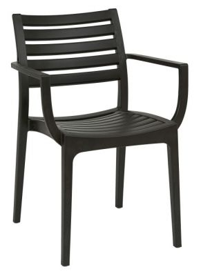 Black Poly Chair With Slats Outdoor Armchair