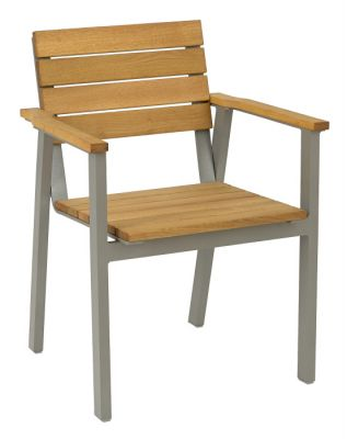 Modern Outdoor Stacking Armchair With Oiled Finish Wood Slats And Galvanised Steel Frame