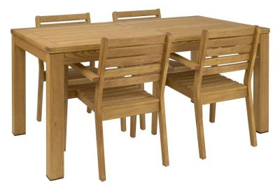 Outdoor Dining Set Four Wood Armchairs And Wood Table