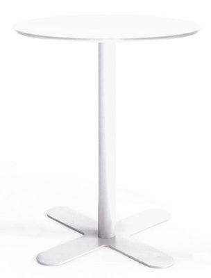 White All Over Steel Outdoor Table With Round Top