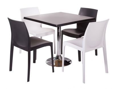 Polypropelene Seats And Werzalit Square Table