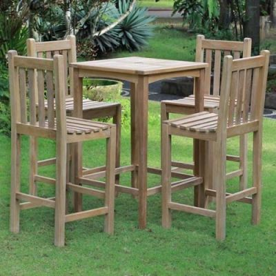 Commercial Outdoor Teak Dining Set Bar Height