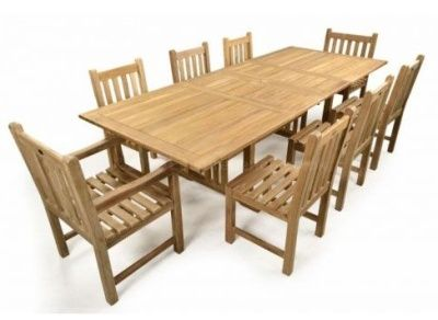 All Wood Outdoor Teak Furniture With Extendable Table And 8 Chairs