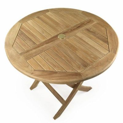 Large Round Teak Folding Outdoor Table
