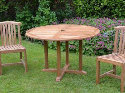 Teak Outdoor Round Fixed Table