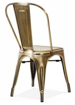 Tollix V3 Side Chair In Antique Brass Rear Angle
