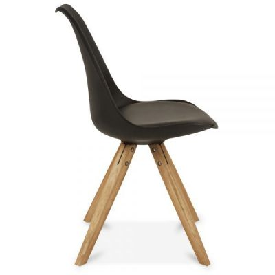 Pyramid Dining Chair Black Seat Side Angle