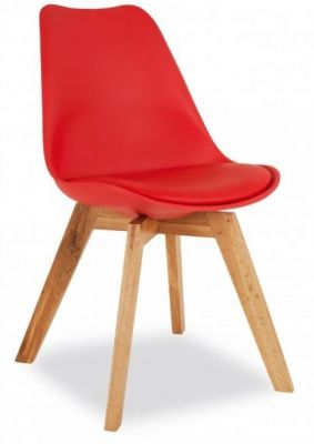 Deko Dining Chair With A Red Seat Front Angle
