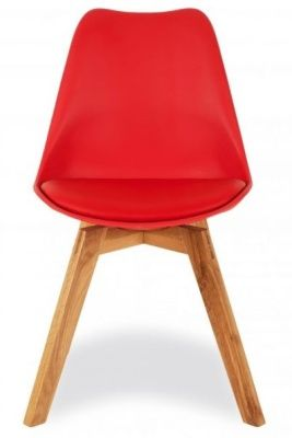 Desko Dining Chair With A Red Seat Front Facing