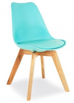 Ddesko Dining Chair With A Light Blue Seat Front Angle
