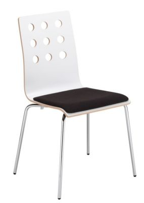 Kobi Laminated Chair White Laminate Shown With A Seat Pad