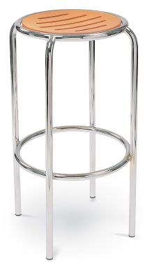 Ringo High Stool Beech Seat Chrome Frame