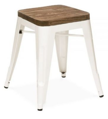 Tollix V2 Low Stool With Wooden Seat In White