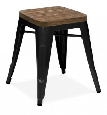 Tollix Low Stool In Black With A Wooden Seat 2
