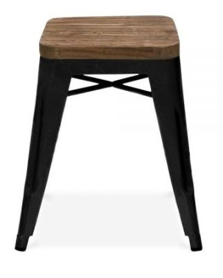 Tollix Low Stool With A Wooden Seat In Black