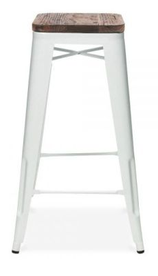Tollix V3 High Stool With A Wooden Seat In White