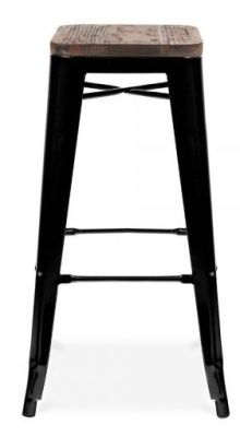 Tollix V3 High Stool In Black With A Wooden Seat