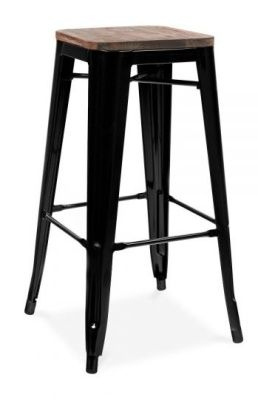 Tollix V3 High Stool In Black With A Wooden Seat 2
