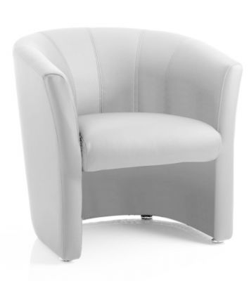 Neron White Leather Tub Chair
