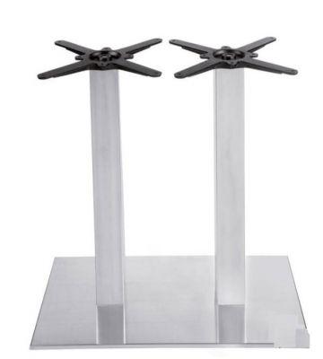 Riveria Double Pedestal Brushed Steel Table Base