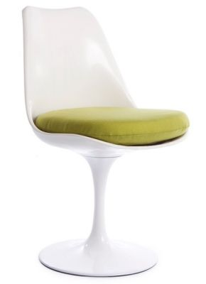 Tullip Chair With A Green Cushion Angle Shot