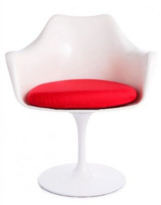 Tulip Armchair Red Fabric Front View