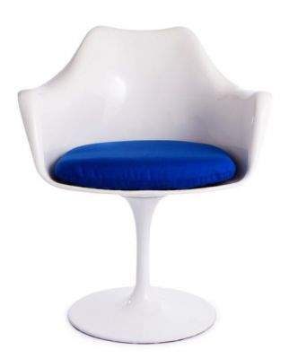 Tulip Armchair Blue Fabric Front View