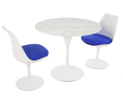 Tulip Two Person Dining Set With Blue Cushions