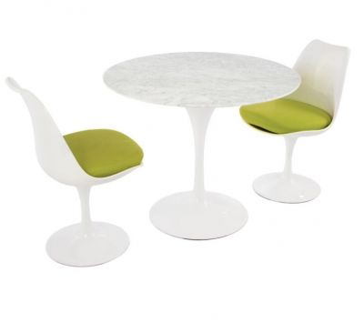 Tulip Two Person Dininjg Set With Green Cushions