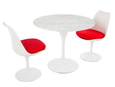 Tulip Two Person Dining Set With Red Cushions