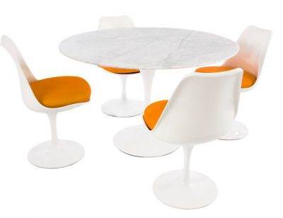 Tulip Four Person Dining Set With A Lmarbe Top And Four Chairs With Orange Fabric