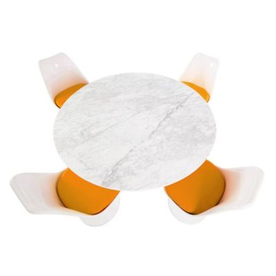 Tulip Four Person Dining Set With Tulip Chairs With Orange Cushions And A Marble Top Taken Grom Above