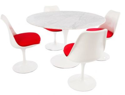 Tullip Four Petrson Dioning Set Aith Red Cushioned Seats And A Marble Top