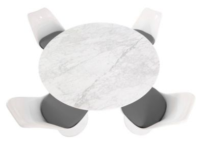 Tulip Fopur [person Bdining Set With Grey Seat Cushions And A Marble Top Taken From Above