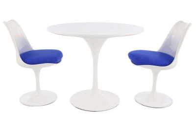 Tulip Two Person Dining Set With A Plain Top And Blue Seat Cushions