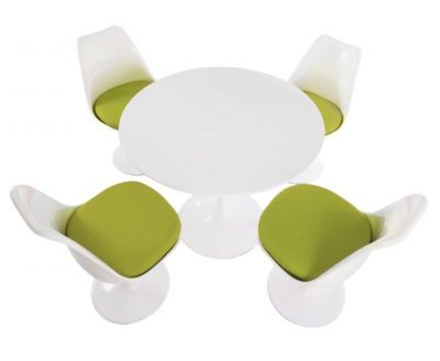 Tulip Four Person Dining Set With A Plain Top And Green Cushions