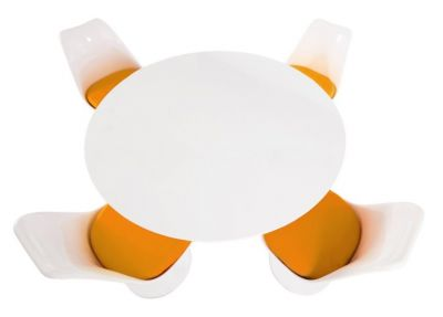 Tulip Four Person Dioniong Set With Orange Cushions And A Plain Top