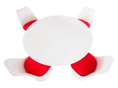 Tulip Four Seat Dining Set With Red Cushions And A Plain Top